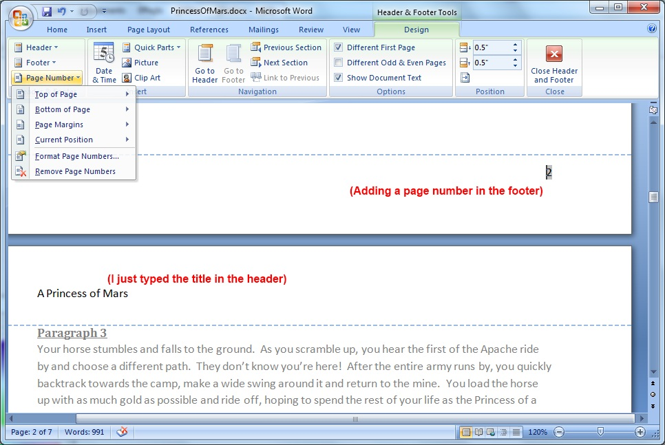 Editing Headers and Footers in Word