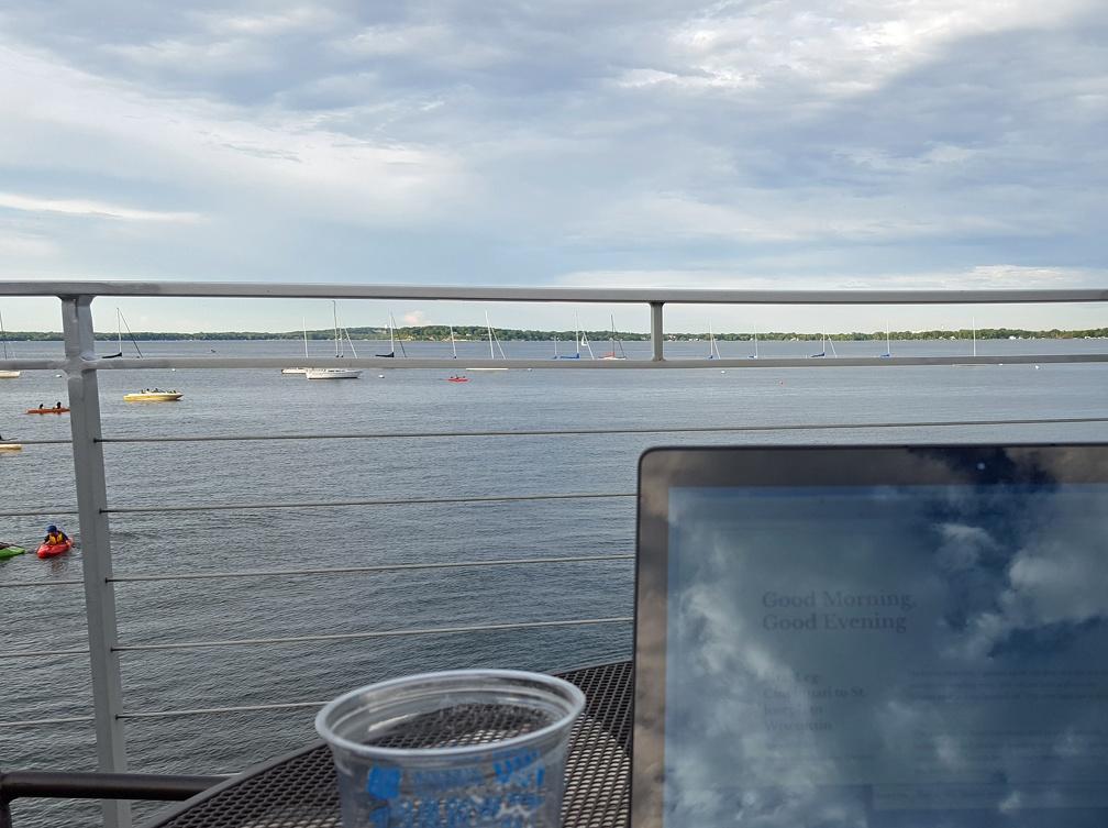Beer, laptop, view.