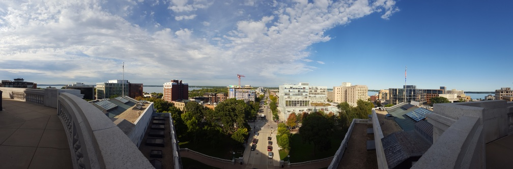 Looking north and seeing both lakes from a panorama of the Capitol Building.