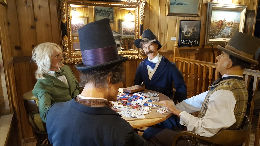 There's a saloon in back, although I think it only server ice cream.  I don't know for sure because it was closed.  They had this re-enactment of Wild Bill drawing on some no good cheatin' gamblers.
