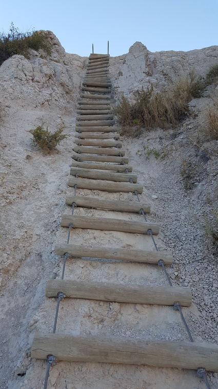 Starts as staircase, ends as ladder. Western fun.