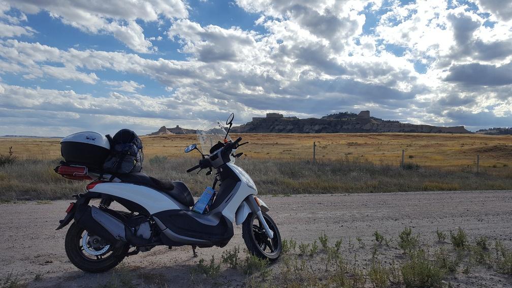 Scooter admiring the cliffs of Nebraska