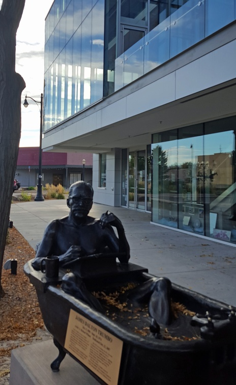 Another man-in-a-bath picture! Last time a clown, this time a screenwrighter! Trumbo grew up in Grand Junction and so they have this (awesome!) sculpture of him.