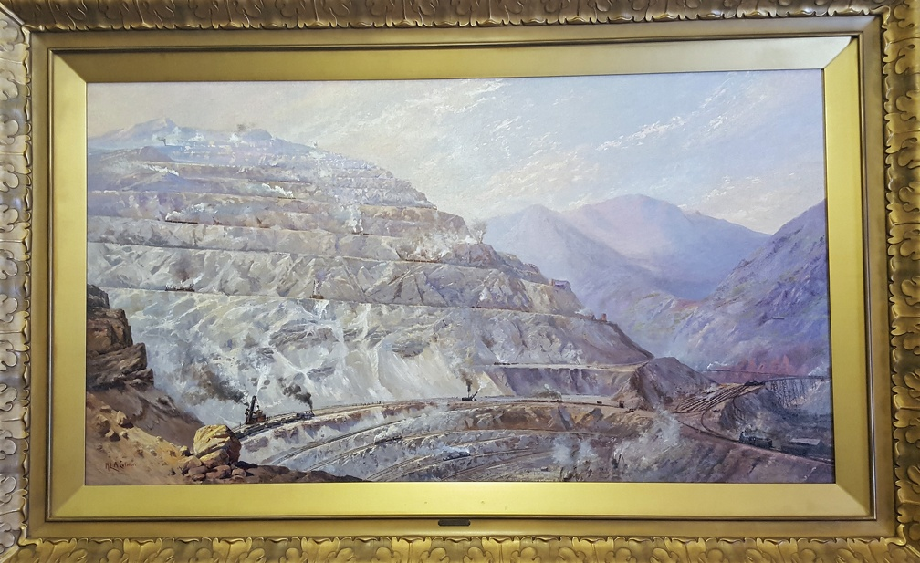 What paintings decorate the governor's office? No honeybees, instead showing the glory off strip-mining.