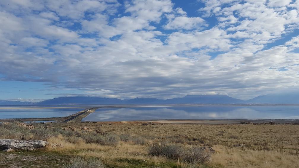 The road in to Antelope Island.