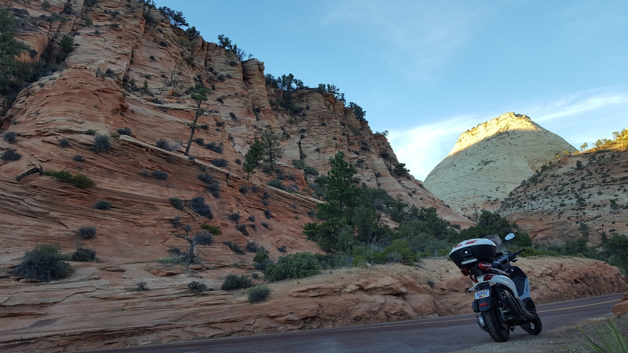 Scooter on road in Zion.
