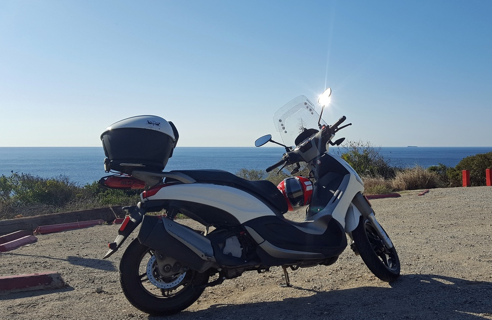 Scooter by the Pacific Ocean