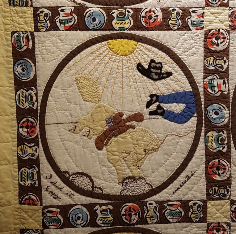 Quilt Square: Cowboy being bucked off bronco
