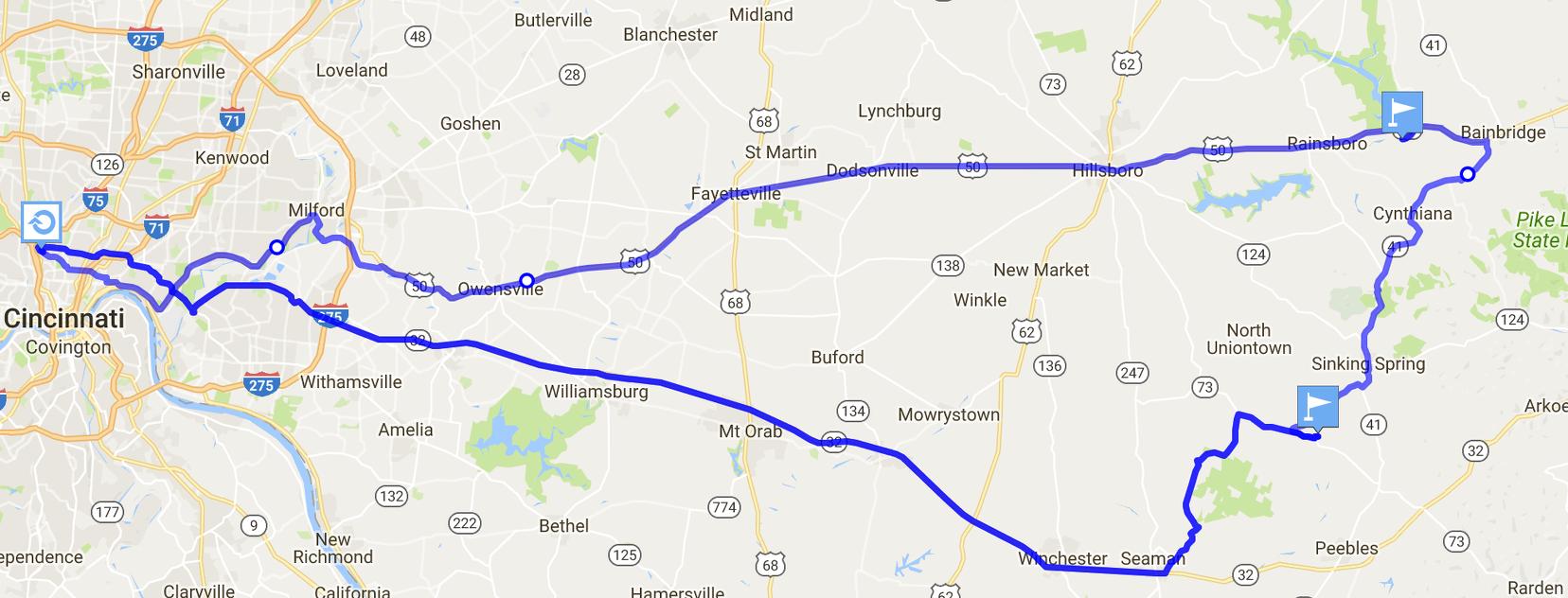 Map from Cincinnati to Highlands Nature Sanctuary