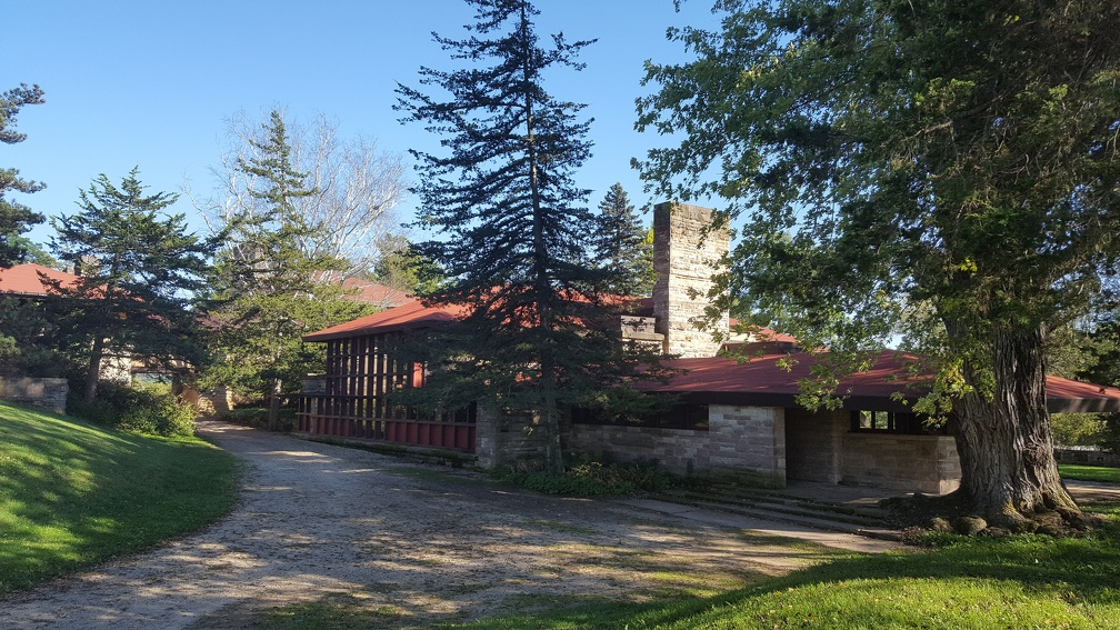 First stop on the tour was the Taliesin School - apparently Frank Lloyd Wright told his students to build the room out to the tree in the front-right. Then, as the tree grew, to just keep cutting the roof back.