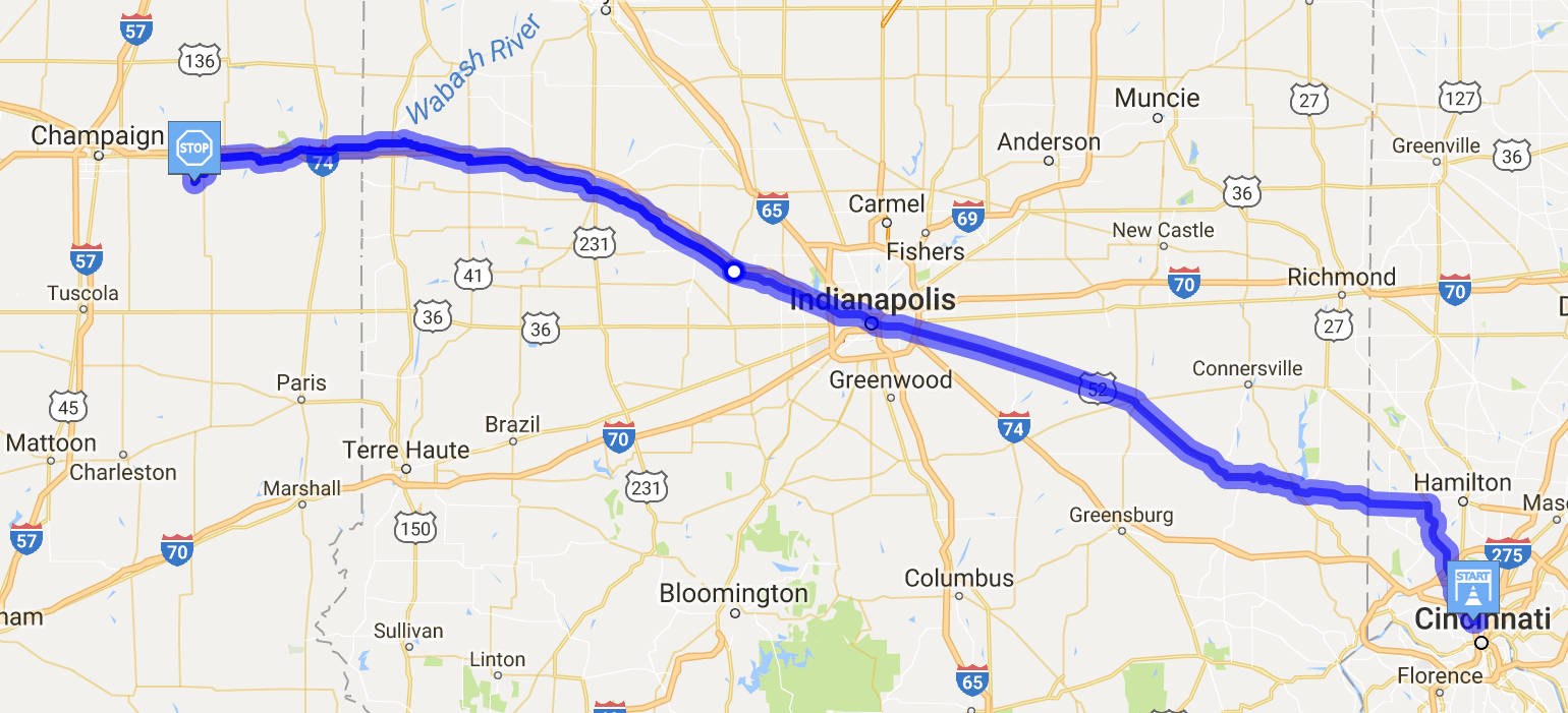 Map showing route from Cincinnti to Illinois